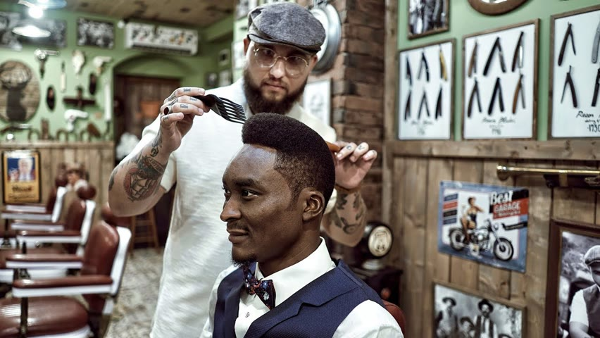 💈 ASMR BARBER - Freehand AFRO POMPADOUR - The most OLD SCHOOL HAIRCUT of all