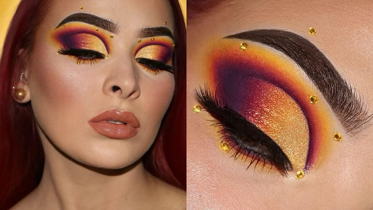 Sunset Fantasy w/ Rhinestones   Makeup Tutorial