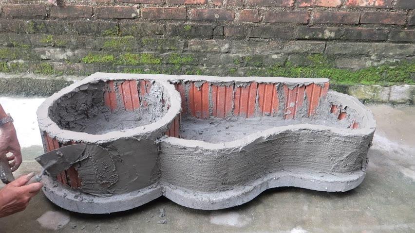Creative a Pot Aquarium With Cement and Brick Very Beautiful - Garden Decoration