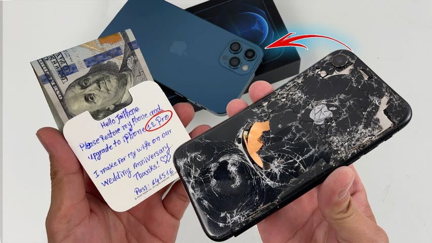 How to turn iPhone XR Cracked into DIY iPhone 12 Pro, Destroyed Phone Restoration
