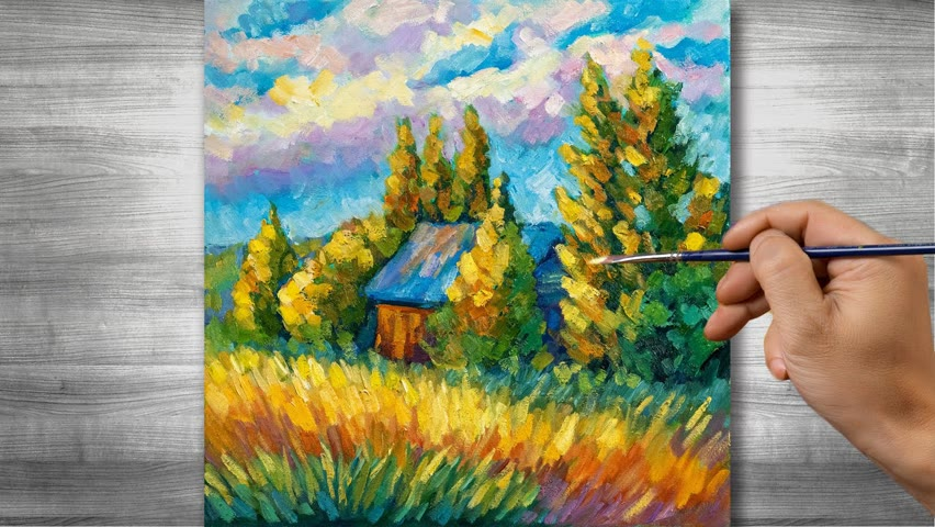 Rural landscape painting   Oil painting time lapse  #311