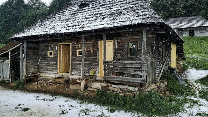 Ploi cu grindină la cabană - Grădina de legume afectată