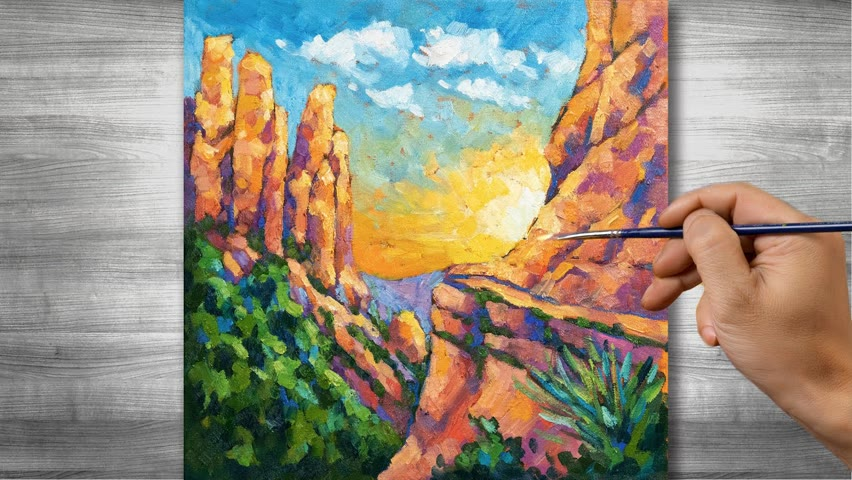 Sunset landscape painting   Oil painting time lapse  #313