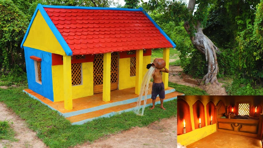 Construct Beautiful Colors Mud Huts Design, Living In Forest
