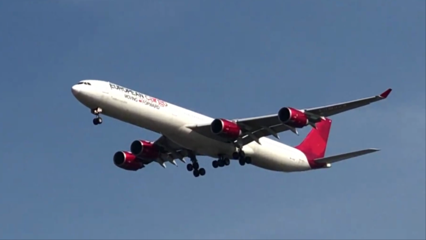 Airbus A340 landing at Incheon airport in South Korea