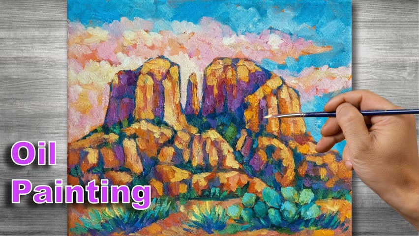 Mountain landscape painting   Oil painting time lapse  #310
