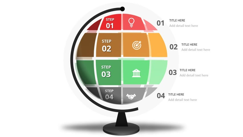 4 Steps with a Globe Design in PowerPoint