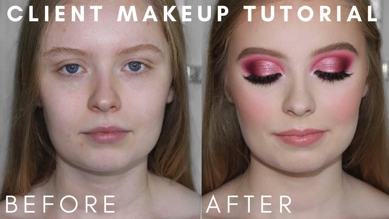 Pink Cut Crease Glam   Client Makeup Tutorial
