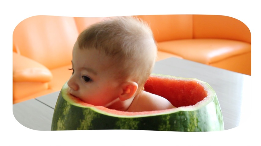 Baby Sits in Watermelon and Eats It