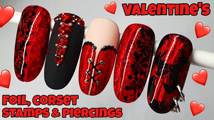 ❤ EASY VALENTINE'S CORSET   Gel polish nail art design tutorial   PIERCING, FOILS, STAMPING   How to