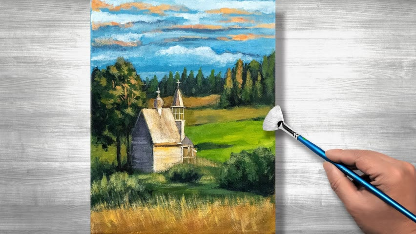 Sunny morning landscape painting | Acrylic painting | step by step #271
