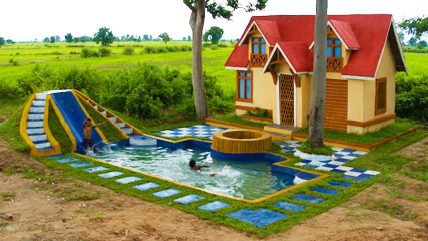 Build  the most impressive underground swimming pool & the Water slide park