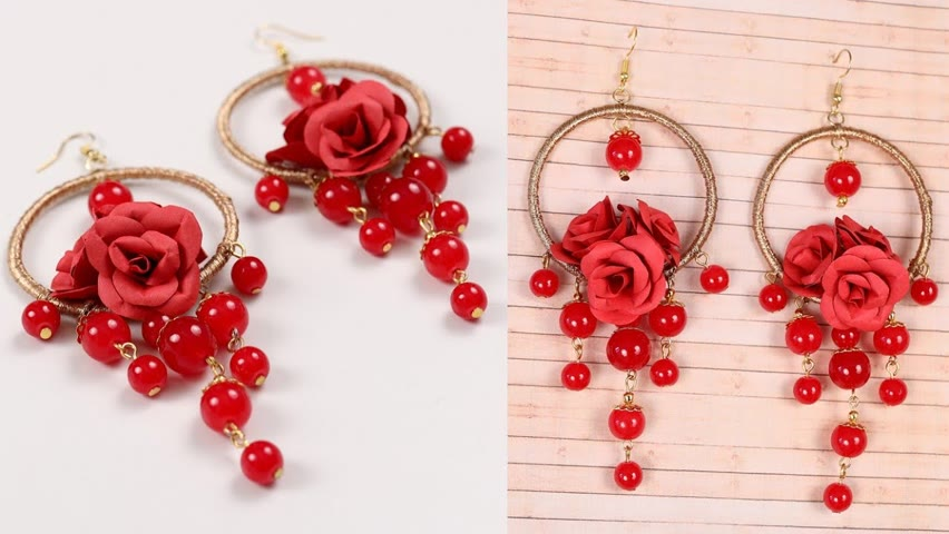 Hot Red!!!!..... DIY Earring 🌹❤💃 #shorts #paramsundari