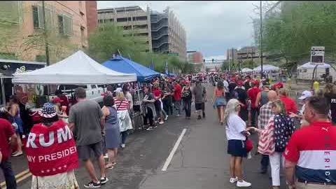 Bulldog Nation Media's, Chuck Holbrook, Walks Thru AZ rally crowds, and interviews concerned citizen