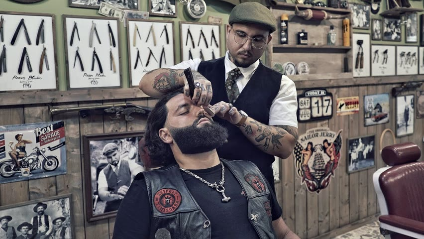 💈 ASMR BARBER - BIKER came for a BEARD TRIM and left with a PIECE OF ART 👌