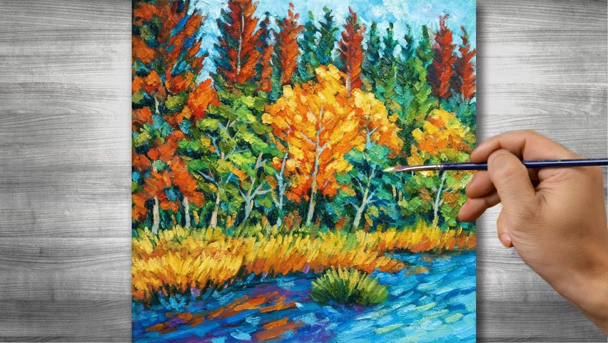 Autumn scenery painting   Oil painting time lapse  #317