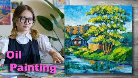 Rural landscape painting | Oil painting time lapse |#302