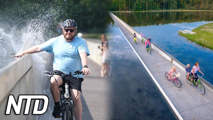 "Cykla ""under vatten"" genom en belgisk sjö   NTD NYHETER"