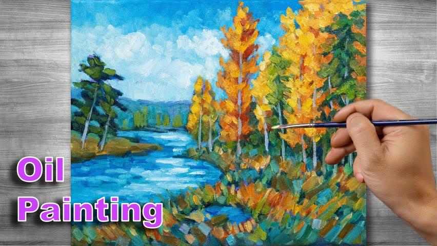 Autumn landscape painting | Oil painting time lapse |#305