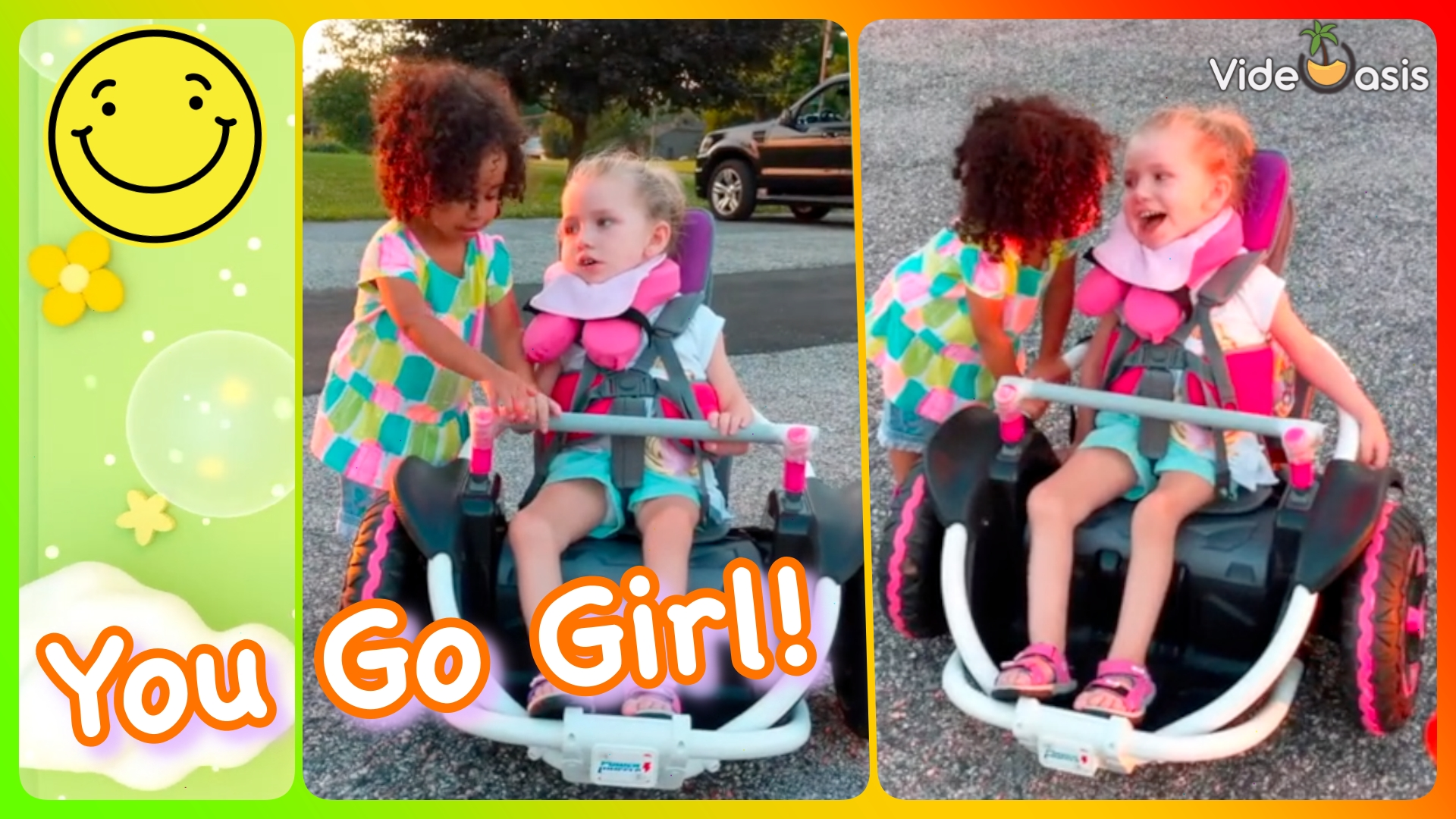 Little girl encourage her friend to drive a motorized wheelchair  VideOasis