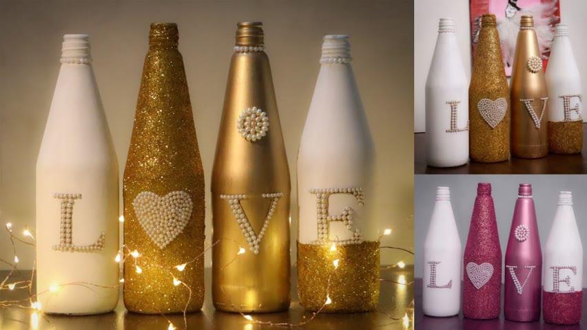 DIY Glass Bottle Decoration Ideas 😎😍 #diyroomdecor #shorts