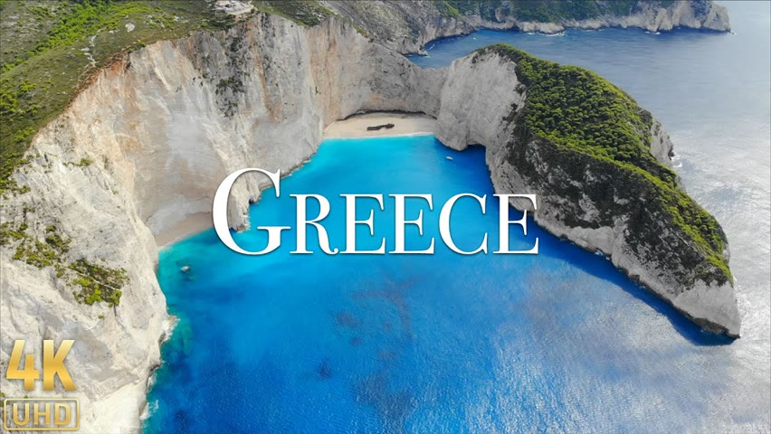 Greece 4K - Flying Over Paradise with Beautiful Relaxing Music by Relaxation Film