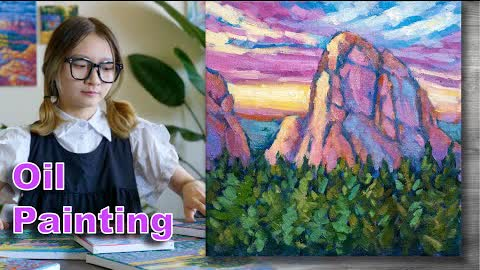 Sunset landscape painting | Oil painting time lapse |#304