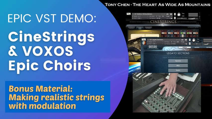 🎹VST Demo: CineStrings & VOXOS choir (No Talk) - Creating realistic strings with a mod. controller 🎹